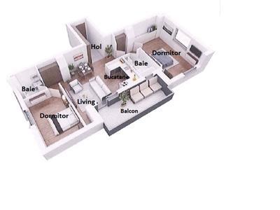 NOU! Apartament semifinisat 3 camere cu CF, zona IULIUS, 2 bai