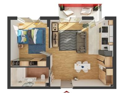 Apartament cu 2 camere in BLOC NOU, semifinisat!