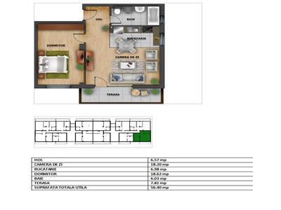 Apartament 2 camere cu CF in bloc NOU, str. Eugen Ionesco