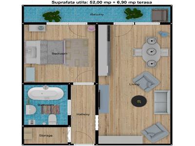 Apartament 2 camere, etaj 1, 52 mp, Buna Ziua