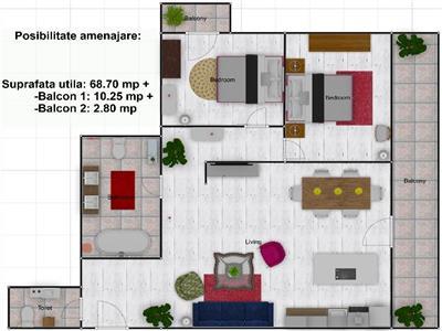 Apartament 3 camere, etaj 2, 2 bai, 2 balcoane,  Buna Ziua