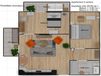 2 camere 66 mp, posibilitate 3 camere, etaj 1, 2 balcoane, Europa