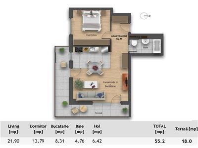 Apartament NOU finisat cu 2 camere, TERASA de 18 mp, Sophia Residence!