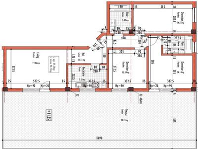 Apartament 4 camere semifinisat, CF, terasa 90 mp, Corneliu Coposu